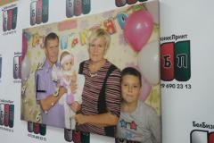 Семейное фото с часами холст 60 на 40 см