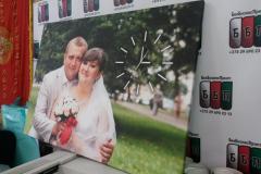 Свадебное фото на холсте с часами 100 на 70 см 25 01